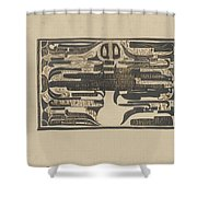Design For A Charter On The Occasion Of Twelve-and-a-half-year Service, Carel Adolph Lion Cachet, 18 Shower Curtain