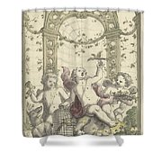 Design For A Gazebo Of Green Trellis, In Which Three Putti Play With Animals, Daniel Marot II, 170 Shower Curtain