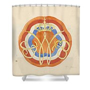 Design For A Plate With A Crowned W, Carel Adolph Lion Cachet, 1874 - 1945 Shower Curtain