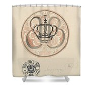 Design For A Plate With Crown And Monogram, Carel Adolph Lion Cachet, 1874 - 1945 Shower Curtain
