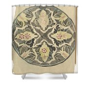 Design For A Plate With Floral Decoration, Carel Adolph Lion Cachet, 1874 - 1945 Shower Curtain