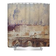 Design For The Thames Embankment, View Looking Downstream Shower Curtain