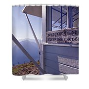 Desolation Peak Fire Lookout Cabin Sign Shower Curtain