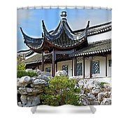 Detail Chinese Garden With Rocks. Shower Curtain