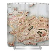 Detail Of A Map Of Rhode Island During French Occupation Shower Curtain