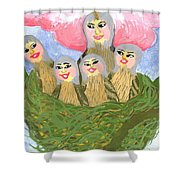 Detail Of Bird People The Chaffinch Family Nest Shower Curtain