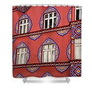 Detail Of Bright Facade Of The Cooperative Business Bank Buildin Shower Curtain