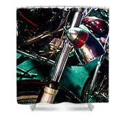 Detail Of Chrome Headlamp On Vintage Style Motorcycle Shower Curtain