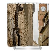 Detail Of Iron On A Wall Of Pienza, Tuscany, Italy Shower Curtain
