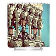 Detail Of Lamp And Columns In Venice. Vertically.  Shower Curtain