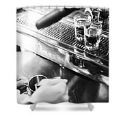 Detail Of Making Espresso Coffee With Machine Bw Shower Curtain