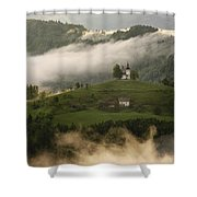 Detail Of Rolling Fog At Sunrise In The Skofjelosko Hribovje Hil Shower Curtain
