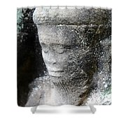 Detail Of Stone Carving Near Angkor Wat, Cambodia Shower Curtain