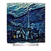 Detail Of The Starry Night Shower Curtain