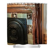 Detail Of Wood Carving And Tiles - Historic Fireplace Shower Curtain
