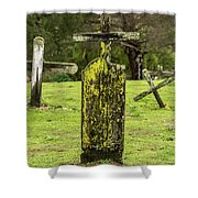 Detail Of Wooden Cross Shower Curtain