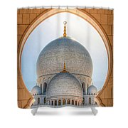 Detail View At Dome Of Sheikh Zayed Grand Mosque, Abu Dhabi, United Arab Emirates Shower Curtain