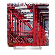 Detail View Of A Row Container Loading Cranes Shower Curtain