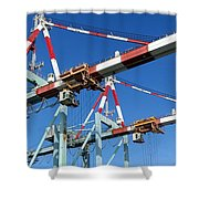 Detail View Of Container Loading Cranes Shower Curtain