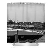 Detroit Lighthouse And Boat Black And White  Shower Curtain