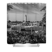 Detroit Lighthouse And Marina 3 Black And White  Shower Curtain