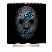 Detroit Lions War Mask 3 Shower Curtain