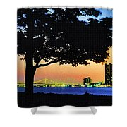 Detroit River View Shower Curtain