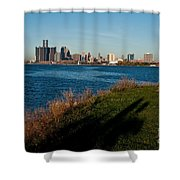 Detroit Skyline And Shadow Shower Curtain