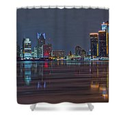 Detroit Skyline From Windsor In Hdr Shower Curtain