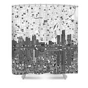 Detroit Skyline Map 5 Shower Curtain