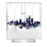 Detroit Skyline Silhouette Shower Curtain