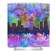 Detroit Skyline Watercolor 1 Shower Curtain