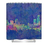Detroit Skyline Watercolor Blue 3 Shower Curtain