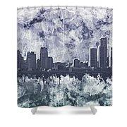 Detroit Skyline Watercolor Grunge Shower Curtain