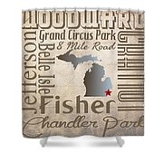 Detroit Streets And Places Shower Curtain by Danielle Allard