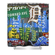 Detroit The Motor City Michigan License Plate Art Collage Shower Curtain