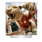 Detroit Tigers Tiger Statue Outside Of Comerica Park Detroit Michigan Shower Curtain by Gordon Dean II