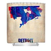 Detroit Watercolor Map Shower Curtain