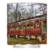 Devastation Railroad Passenger Train Car Fire Art Shower Curtain