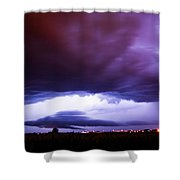 Developing Nebraska Night Shelf Cloud 001 Shower Curtain