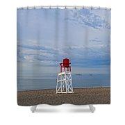 Devereux Beach Lifeguard Chair Info Board Marblehead Ma Shower Curtain
