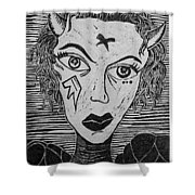 Devil Print Two Out Of Five  Shower Curtain by Thomas Valentine