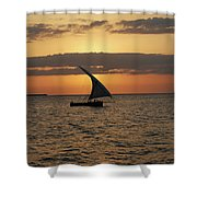 Dhow At Sunset Shower Curtain