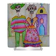 Dia De Los Muertos Mexican Couple Diego And Frida Shower Curtain