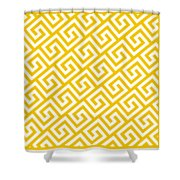 Diagonal Greek Key With Border In Mustard Shower Curtain