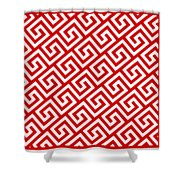 Diagonal Greek Key With Border In Red Shower Curtain