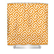 Diagonal Greek Key With Border In Tangerine Shower Curtain