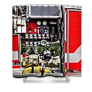 Dials And Hoses On Fire Truck Shower Curtain