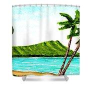 Diamond Head And Waikiki Beach #351 Shower Curtain