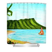 Diamond Head And Waikiki Beach Canoe #334 Shower Curtain